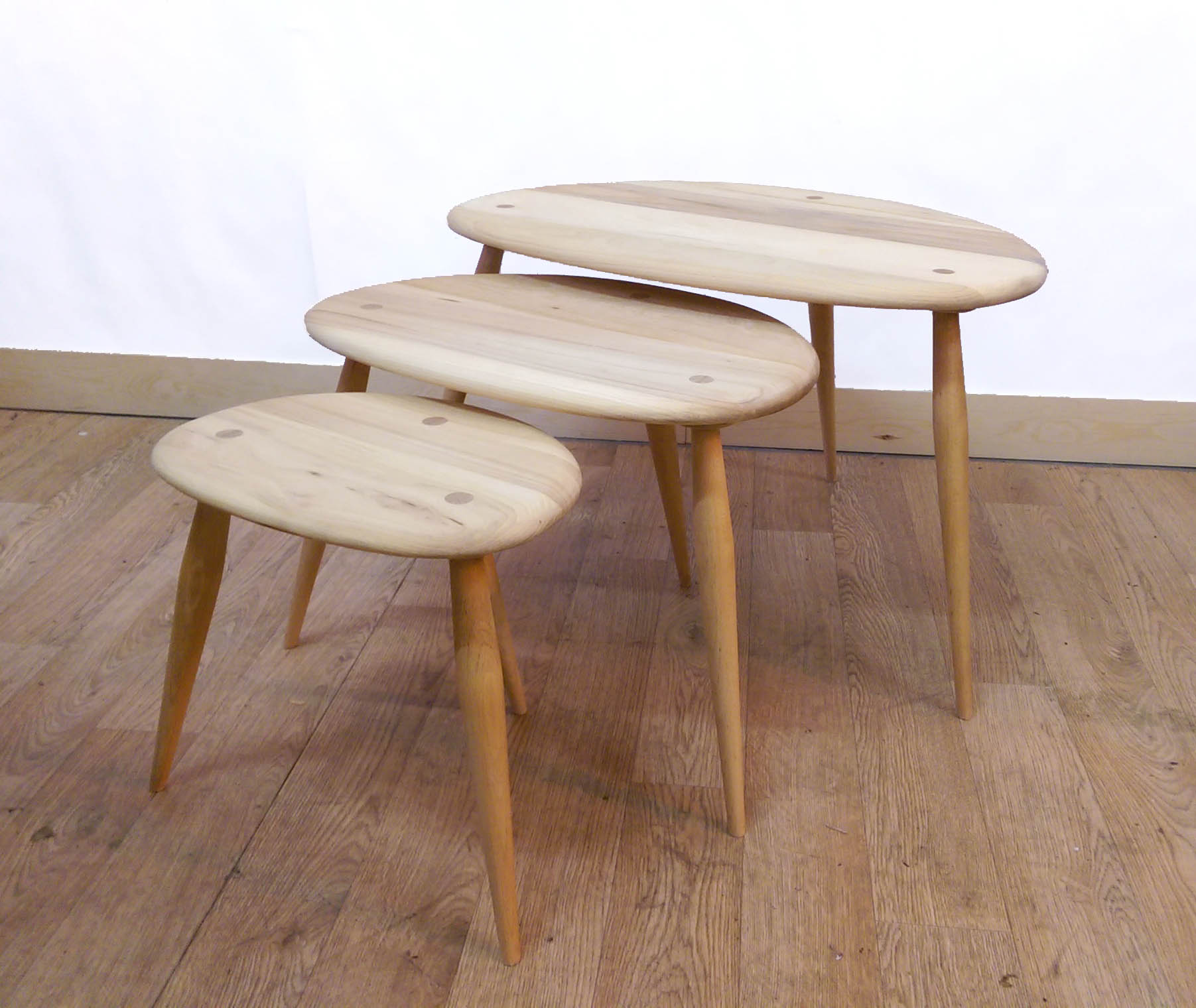 Fully restored set of Ercol Pebbles
