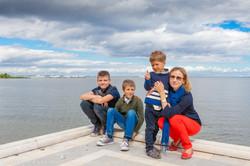 Family at Finnish bay