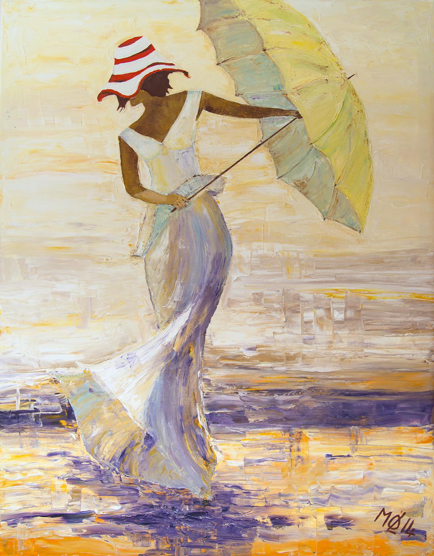 Traumfrau mit Schirm