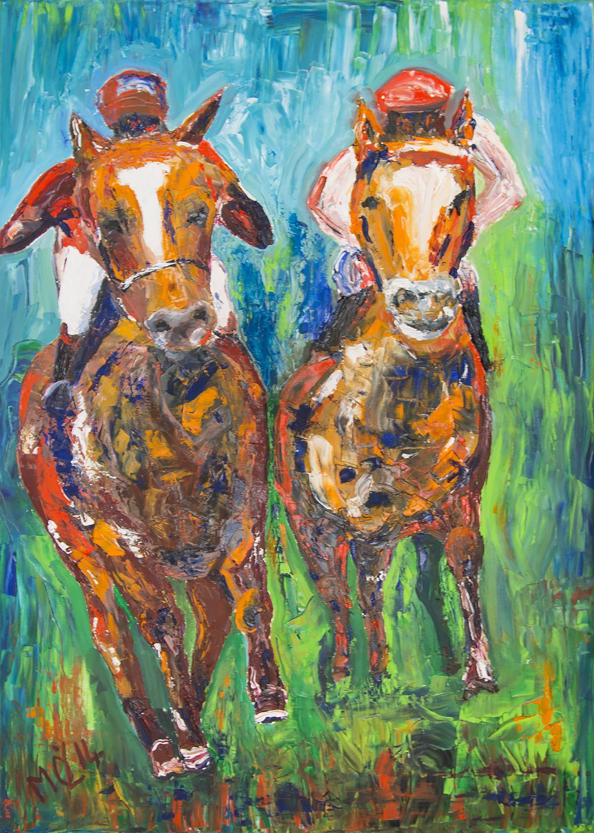 Beim Pferderennen