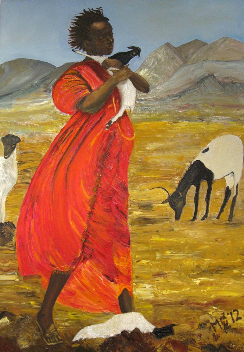 Ziegenhirtin in der Wüste