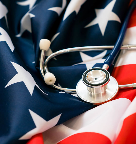 American flag with a stethoscope on it.