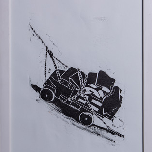 Gravura em PVC 2021 S/ título Formato: 42x30 Da série: Brincadeira na Margem