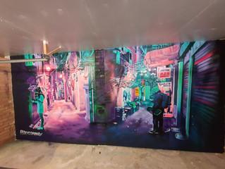 Neo Tokyo Street Scene Mural in GYM