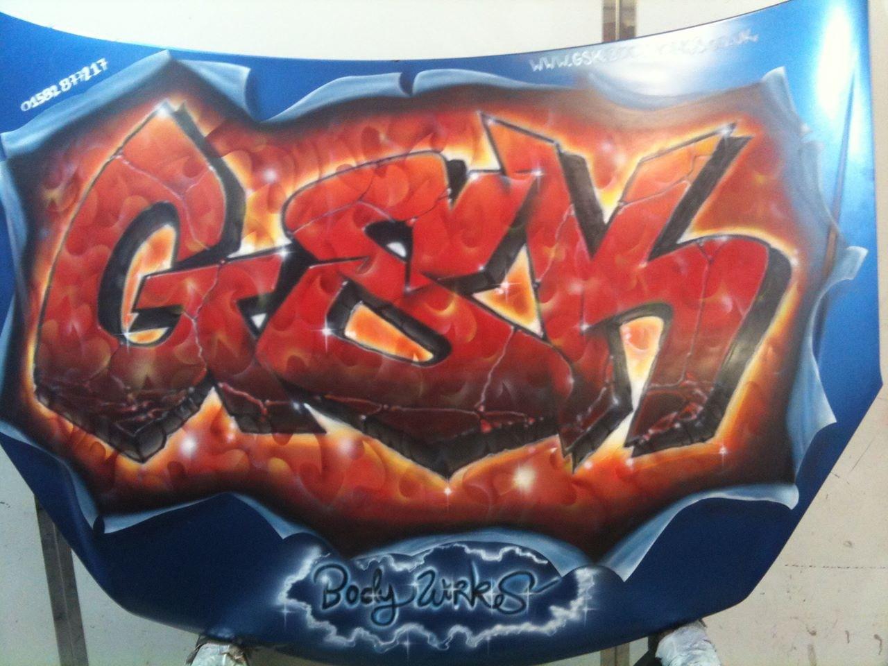 Airbrushed Graffiti Artwork on Car Bonnet