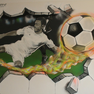Football Artwork Decoration painting in childs bedroom