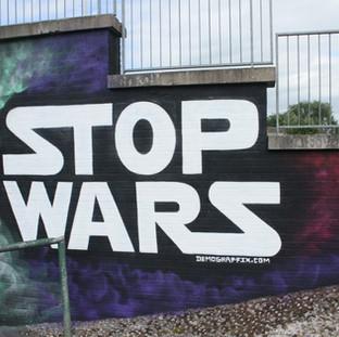 Stop Wars Graffiti Message Luton