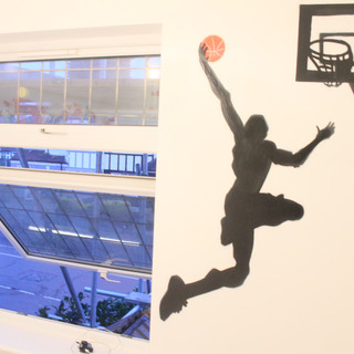 The client wanted Micheal Jordan silhouette doing a slam dunk, painted in their son's bedroom. Please get in touch if your interested in getting similar artwork for your childs bedroom to complete your interior design needs.