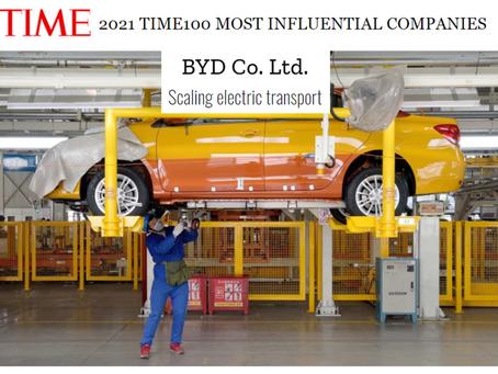 BYD es una de las 100 empresas más influyentes del mundo en 2021, según revista TIME