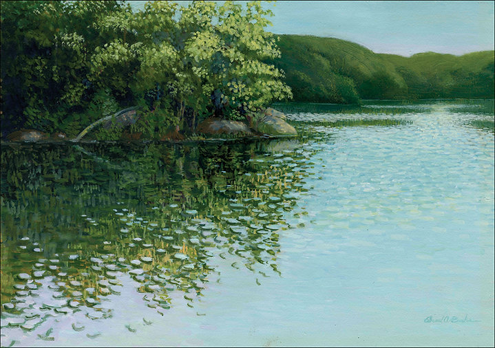 Overcast Croton Reservoir Painting by Edward Burke