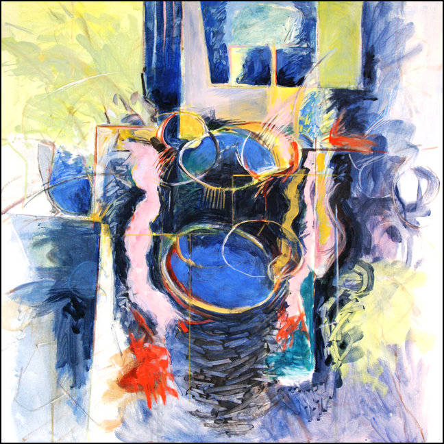 """""""Early Spring - Yellow & Blue""""   Abstract Stil Life Painting by Ed BurkeMedium: Oil / Canvas   Dimensions: 36"""" x 36"""""""