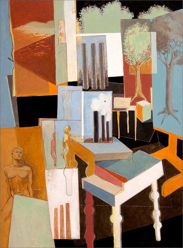 """Envirofacturing Green Dot"" painting by Ed Burke"