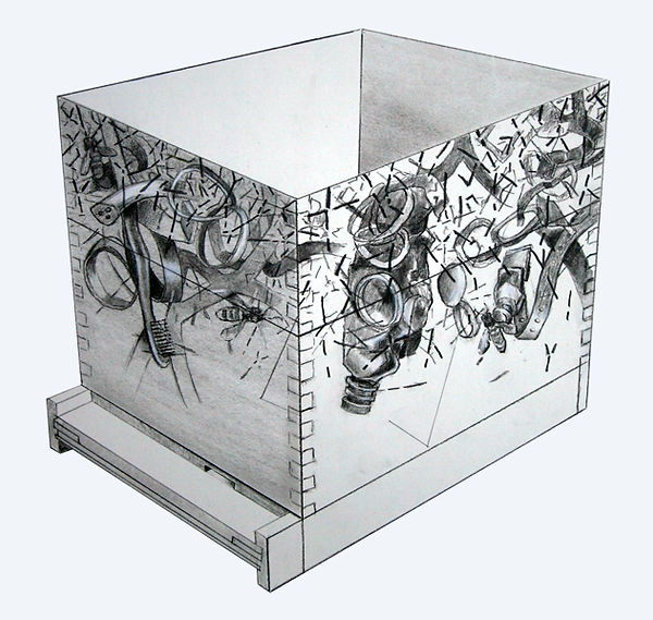 Drawing of Bee Box project for Lennon & Weinberg Gallery NYC
