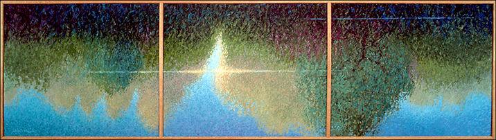 """Croton Pond Sunrise"" Triptych painting by Edward Burke"