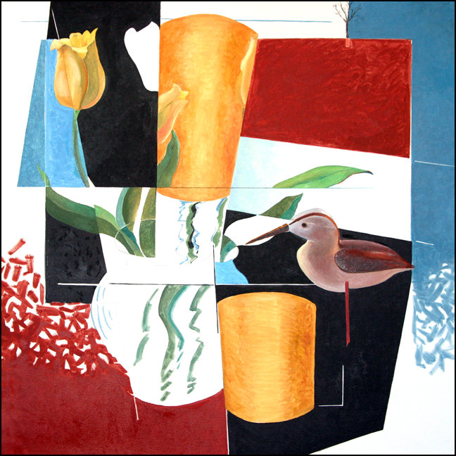 """""""Early Spring - Cubed""""  Still Life painting by Edward Burke Medium: Oil / Canvas   Dimensions: 36"""" x 36"""""""