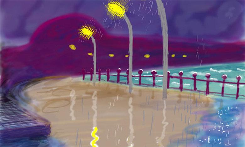 2008 - David Hockney - Rainy Night On Bridlington PromenadeED07-Hockney.jpg