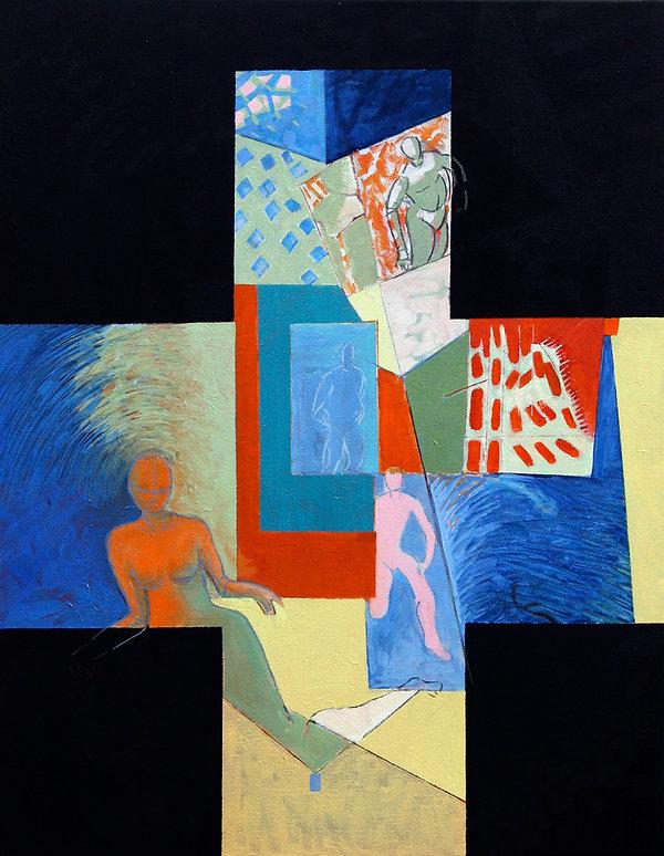 """""""Black Cross Mythology - Wo-Man""""  Edward Burke Acrylic / Painting onCanvas   30"""" x 40"""""""