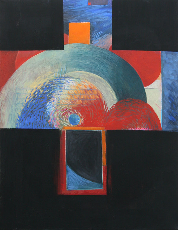 """Black Cross Mythology - Creation"" Painting By Ed Burke  Acrylic / Canvas   30"" x 40"""