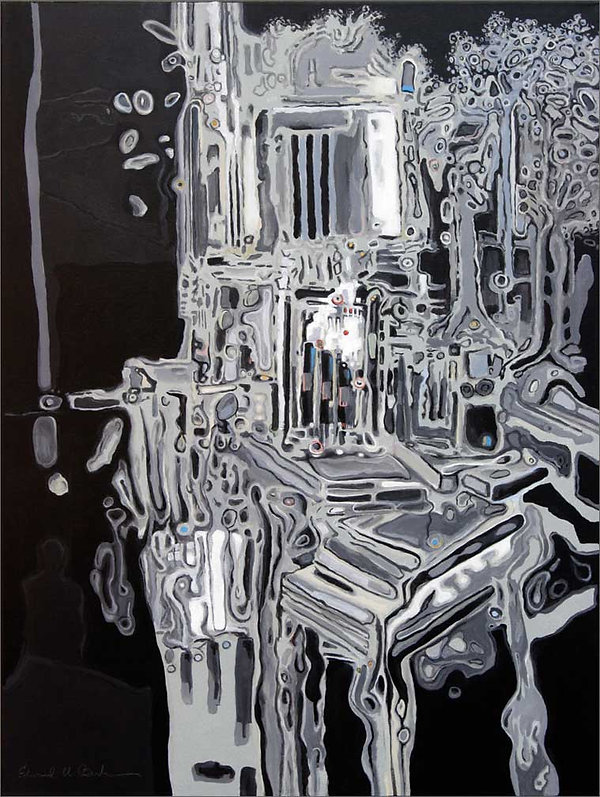 """""""Envirofacturing Red Dot""""  Acrylic painting on canvas by Edward Burke"""