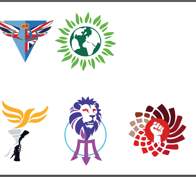 Logos of the different Parties in the game