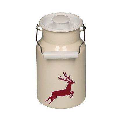 Milchkanne mit Deckel 1,5l Hirsch rot