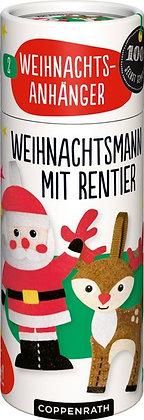 Nähset Weihnachtsanhänger - Weihnachtsmann mit Rentier