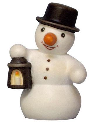 Schneemann aus Holz mit Laterne