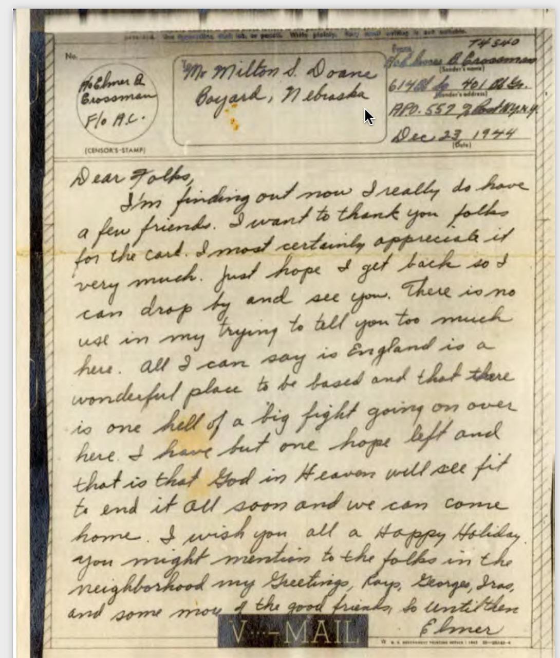 Grandpa Crossman's letter