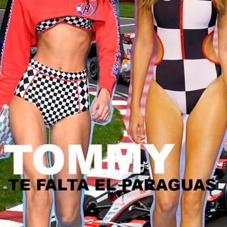 Parece que Tommy Hilfiger no se enteró de la gran polémica con las paragüeras de la Formula 1 (ya sin ellas) y Moto Gp y las animadoras y azafatas de otros deportes (por lo menos en España).