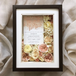 preserved flowers with wedding invite