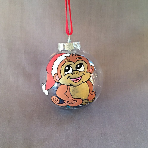 cute monkey with santa hat Christmas bauble decoration