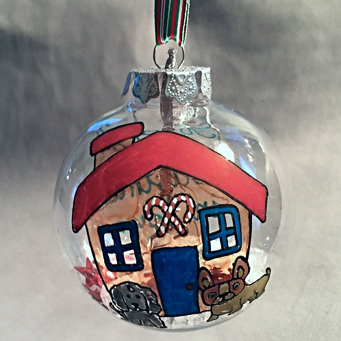 gingerbread house with dogs Christmas bauble decoration