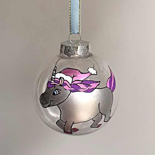 pink silver unicorn with Santa hat Christmas bauble decoration