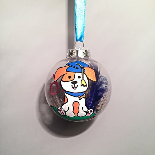 cute dog graduation bauble decoration