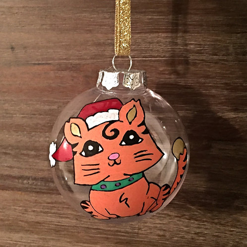 cute cat with Santa hat Christmas bauble decoration