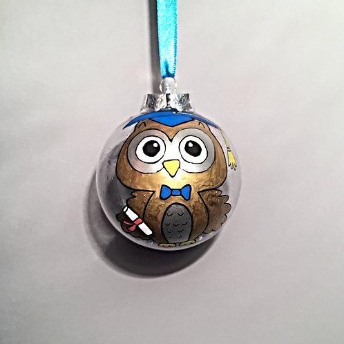 blue graduation owl bauble decoration