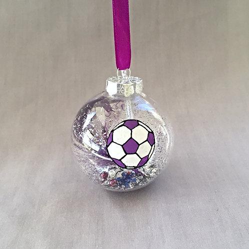 purple soccer ball football Christmas bauble decoration