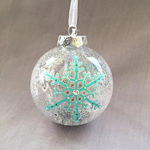 aqua snowflake Christmas bauble