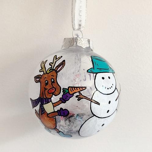 Reindeer Building Snowman