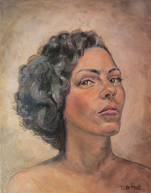 The painting #metoo or Overcomer by Nathalie Martin of Lux Light Art. A portrait, self-portrait, of a woman with nude shoulders. he has curly hair, a shadow behind her back, Her stare is profound. The style is midcentury, les année foles, art deco, realisim, expresionism, rose, dusty rose color