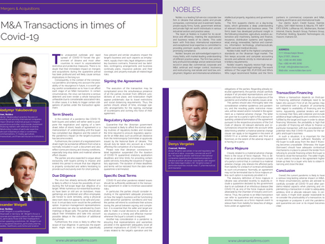 M&A Transactions in Times of Covid-19