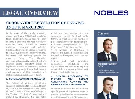 LEGAL OVERVIEW OF CORONAVIRUS LEGISLATION OF UKRAINE AS OF 20 MARCH 2020
