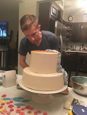 Ed making a cake for Madeline's Birthday!