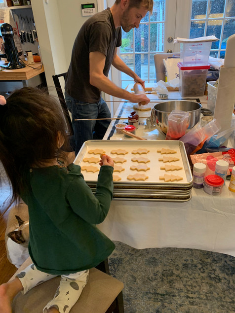 Ed baking with Madeline (Our friend's daughter)