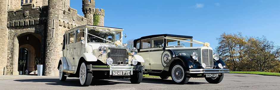 Vintage Wedding Cars at a Wedding in Hensol Castle