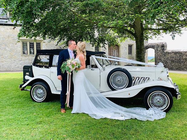 Vintage Wedding Car at St Donats Castle