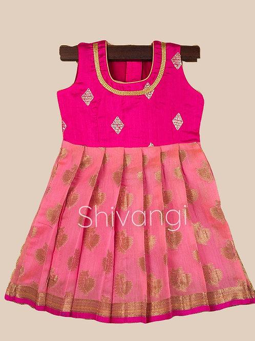 Shivangi Pink Banarasi Frocks For Little Ones