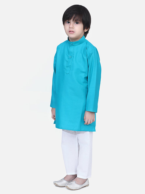 Kidswear Children Ethnic Teal Green Colored Kurta Pajama