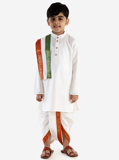 JBN Creation Boys Soft Feel Cream Coloured Panchakajam / Panchakattu Front