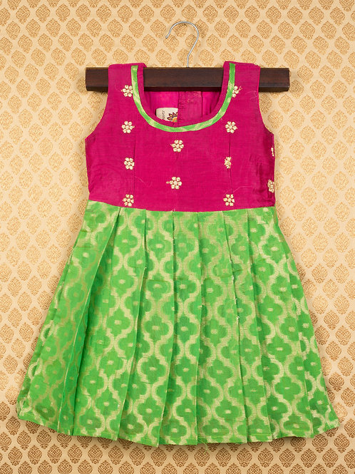 Shivangi Pink Green Banarasi Frocks For Little Ones